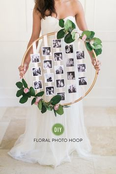 DIY Floral Photo Hoop darker woodsy flowers with black and white 4x4 photos of me and jon. maybe one from each year? doesnt have to be big with a lot of photos
