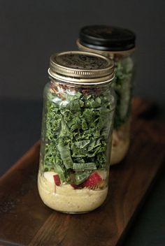 autumn in a jar: kale salad with chickpeas, cherries, and pecans // Sweetsonian