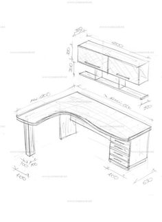 Corner table with a superstructure. Sketches and drawings of furniture from Creamondi. Study Room Design, Study Room Decor, Room Design Bedroom, Small Room Design, Room Setup, Room Ideas Bedroom, Home Room Design, Small Room Bedroom, Home Decor Bedroom