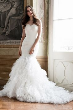 Daalarna #bridal 2014 :strapless mermaid #wedding dress with ruffle skirt #weddingdress #weddinggown