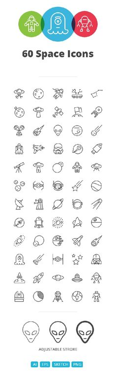 Ai EPS SKETCH Vector Icons - Space iOS Line