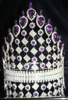 Rhinestone Purple Crown  Tiara Large 8 inch Drag Queen Beauty Pageant #Crown