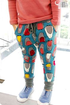Pingu Jogger Pants for girls 2-7. Cool kids fashion at Color Me WHIMSY this fall.