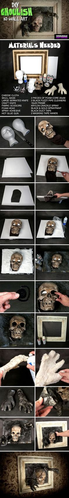 Skull Picture Frames DIY your very own wall art for Halloween!DIY your very own wall art for Halloween! Spooky Halloween, Theme Halloween, Halloween Haunted Houses, Diy Halloween Decorations, Halloween 2017, Holidays Halloween, Halloween Crafts, Halloween Centerpieces, Halloween Designs