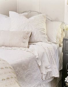See our favorite white bedrooms and browse through our favorite white bedroom pictures, including white bedroom furniture, white decor, and more. White Bedroom Decor, White Bedroom Furniture, White Home Decor, Bedroom Ideas, Shabby Chic Bedrooms, White Bedding, White Linens, White Pillows, Neutral Bedding