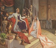 A painting by Sam Lawlor showing Queen Esther wearing a long pink robe kneeling before the King's throne. Esther Bible Study, Book Of Esther, Story Of Esther, King Of Persia, La Sainte Bible, Queen Esther, Bride Of Christ, Bible Lessons For Kids, Biblical Art