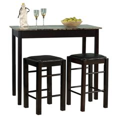 Linon Tavern Collection 3-Piece Table Set - The use of table in every establishment especially houses is very important. Identifying what type of the table you need is very important too. Kitchen Dining Sets, Counter Height Dining Sets, Dining Room Sets, Dining Room Table, Small Dining, Kitchen Ideas, Kitchen Design, Patio Bar Set, Pub Table Sets