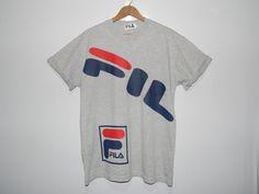 d8b1f5fbcee Vintage unique FILA 90s baggy style spellout t-shirt rare