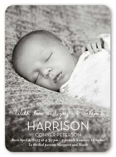 Lovingly Welcome Boy 5x7 Stationery Card by Clover | Shutterfly