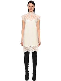 ERMANNO SCERVINO, Cashmere dress w/ lace inserts, Vanilla, Luisaviaroma - High collar . Back zip closure . Lace inserts . Scalloped edges . Unlined