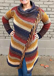 Crochet Cardigan Blanket Cardigan By Ashlea Konecny - Purchased Crochet Pattern - (ravelry) - This blanket style wrap cardigan is so chic! It features a fantastic drape, a classy button closure, and a slimming asymmetrical line. Crochet Baby Jacket, Crochet Cardigan Pattern, Crochet Blanket Patterns, Crochet Shawl, Knit Crochet, Ravelry Crochet, Crochet Style, Crochet Sweaters, Shawl Patterns