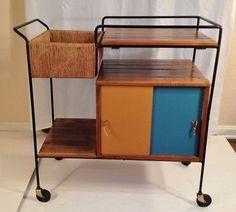 Mid Century Modern Arthur Umanoff Serving Cart Bar Cart Eames Era Tea Cart | eBay