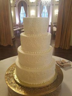 Lace Piped Wedding Cake. Gold Wedding Cake. Buttercream Wedding Cake. Buttercream Piped Wedding Cake. White on White Wedding Cake.