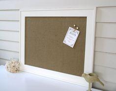 burlap bulletin board magnet board in classic tan burlap handmade wood frame magnetic memo