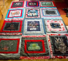 10 Upcycled T-Shirt Crafts. Note to Laura: See? This is what I meant for boys, great cosy practical throw for living room if lined. Wouldn't show dirt easily either and easy to wash. Could do it as an heirloom quilt for them?