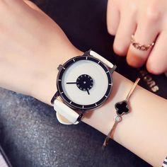 Stylish Turntable Creative Casual Women Leather strip Sport Wrist watch for women
