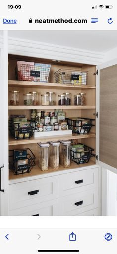 Behind the Scenes: Ashley's Pantry Kitchen Pantry Cabinets, Upper Cabinets, Kitchen Reno, Pantry Design, Kitchen Design, Kitchen Organization, Kitchen Storage, Pantry Interior, Custom Built Homes
