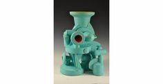 "Doug Herren, Aqua Vase Cluster (alternate view), Stoneware with bronze glaze, enamel paint, 26"" x 18"" x 17"", 2012"
