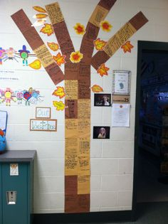 """A """"Poet-Tree"""" in my daughter's classroom.  She posts the kids' poems on it and they love it.  A great way to get kids to love poetry."""