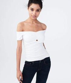 Solid Keyhole Off-The-Shoulder Bodycon Top Off Shoulder Blouse, Off The Shoulder, Bodycon Tops, Black Kids Fashion, Peek A Boos, Aeropostale, Neckline, Stitch, Women
