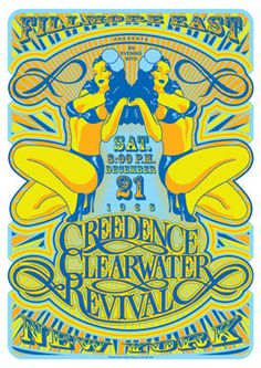 CREEDENCE Clearwater Revival - New York - 21 December 1968 - artistic retro concert poster