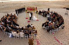 Colocación de las sillas en forma circular para que todos vean la ceremonia