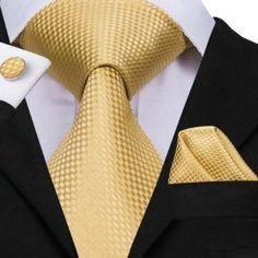 Hi-Tie Silk Men Tie Set Floral Yellow Gold Ties and Handkerchiefs Cufflinks Set Men's Wedding Party Suit Fashion Neck Tie Cravat Tie, Gold Tie, Party Suits, Cufflink Set, Mens Silk Ties, Tie Set, Tie And Pocket Square, Jacquard Weave, Suit Fashion