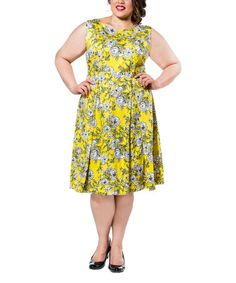 Loving this Yellow Floral A-Line Dress - Plus on #zulily! #zulilyfinds