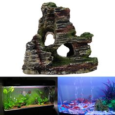 Resin Mountain View Aquarium Rockery Hiding Cave Tree Fish Tank Ornament Decoration. Yesterday's price: US $3.60 (2.97 EUR). Today's price: US $3.35 (2.76 EUR). Discount: 7%.