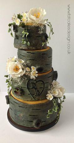 rustic wood bark effect wedding cake