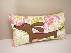 Doxie in the Happy Garden Pillow $24.50
