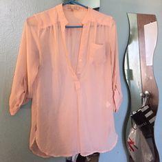Sheer blouse Deep v neck with buttons, pocket on left side, long Tops Blouses