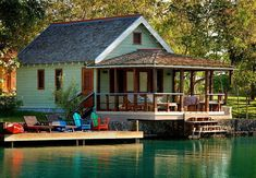 Lake cottage - the porch is almost as big as the house