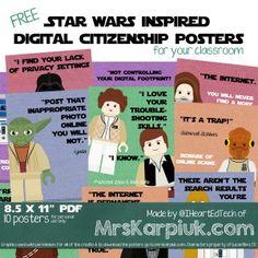I Made Some Free Star Wars Inspired Digital Citizenship Posters - Mrs. Karpiuk