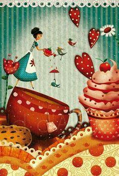 Decoupage Vintage, Decoupage Paper, Vintage Art, Cupcake Illustration, Cute Illustration, Art Fantaisiste, Cupcake Art, Tea Art, Jolie Photo