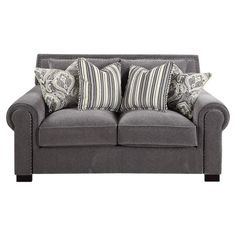 This chic loveseat showcases nailhead trim and a charcoal finish. 4 complementing throw pillows offer a pop of pattern with lovely style.  $732 38H x 71W x 42D ...