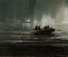 Peder Balke, Northern Lights Over Four Men in a Rowboat, c. 1880  Aurora Borealis
