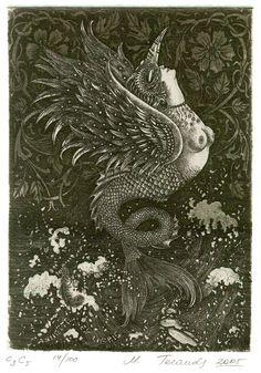 An 'ex libris' bookplate by Marina Terauds titled 'Chimera'
