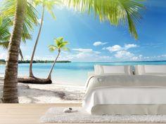 Schlafzimmer ideen Wandgestaltung-besondere Fotos sommerliche-Atmosphäre