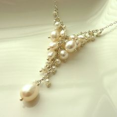 Bridal Necklace Freshwater Pearls Sterling Silver by Lilhouette