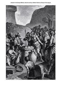 Oliver Medhurst presents Abraham in the Bowyer Bible 26 Abraham and Melchizedek Marillier on Flickr. A print from the Bowyer Bible, a grangerised copy of Macklin's Bible in Bolton Museum and Archives, England.