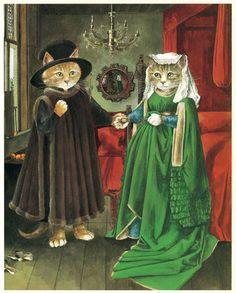 Los gatos se convierten en protagonistas de obras de arte: así son 'Las meninas' o La Gioconda' gatunas
