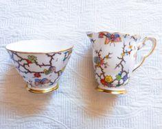 Whimsical Floral Butterfly Royal Stafford Sugar Bowl and Creamer Jug - Edit Listing - Etsy Sugar Bowls And Creamers, Royal Stafford, Sugar Spoon, Cute Butterfly, Cream And Sugar, Flower Designs, Whimsical, Tea Cups, Antiques