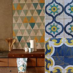 These beautifully silkscreened plywood tiles from Moonish Tiles are outfitted with a magnetic backing that allows for easy, nonpermanent installation on walls. We love the idea of adhering these to walls that get a lot of traction. Kitchen backsplash, anyone?