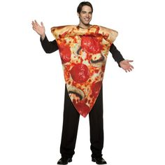 Pizza Slice Adult Costume ($27) ❤ liked on Polyvore featuring costumes, halloween costumes, party costumes, adult women halloween costumes, adult women costumes, ladies halloween costumes and adult halloween costumes