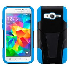 Insten Plain Hard PC/ Silicone Dual Layer Hybrid Phone Case Cover with Stand For Samsung Galaxy Core Prime/ Prevail (/ Blue) #2064536