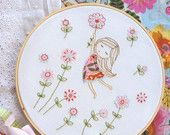 Embroidery Pattern, Instant Download, Needlecraft Design - Girl in a Red Dress