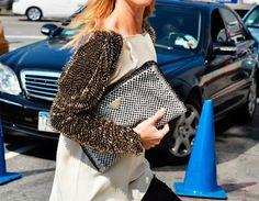 Eye for detail - Prada Monochrome - monstylepin #fashion #streetstyle #fashiondetail #clutch #monochrome #prada
