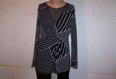 DAISY FUENTES Shirt Top L Black White Spandex Stretch Surplice V-Neck Mesh #DaisyFuentes #KnitTop #Casual