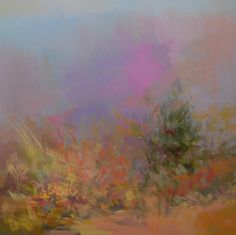 """Saatchi Online Artist: Yuri Pysar; Oil 2013 Painting """"Abstract landscape painting Autumn Pink"""""""